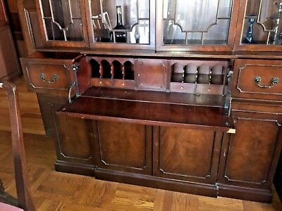 Antique Wall Dining Room Breakfront Cabinet with hidden desk - Reduced