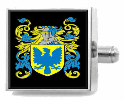 Select Gifts Criswell England Family Crest Surname Coat Of Arms Cufflinks Personalised Case