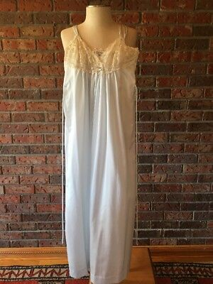Vintage Christian Dior Lingerie Gown Size Petite Small Blue With Cream Lace
