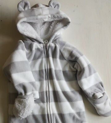 old navy grey white striped baby bunting fleece 12 18 months