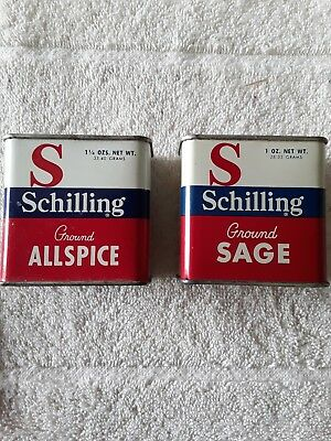 Vintage Schilling Spice Tins - 2 All Metal Allspice and Ground Sage