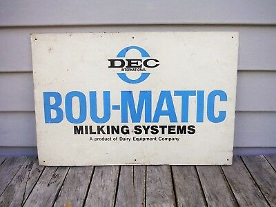 """Vintage Bou-Matic Milking System Equipment Sign Feed Seed Farm Dairy! 18""""x12"""""""