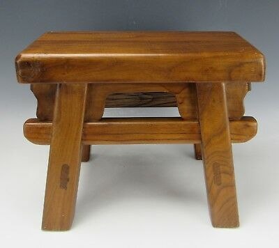 "A Chinese Antique style Hard Wood 4-Leg Stool chair 12""H"