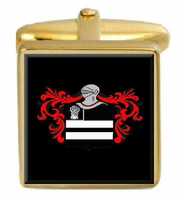 Select Gifts Emms England Family Crest Surname Coat Of Arms Gold Cufflinks Engraved Box