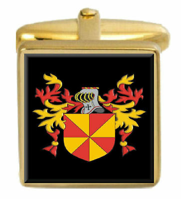 Select Gifts Parker Ireland Family Crest Surname Coat Of Arms Gold Cufflinks Engraved Box
