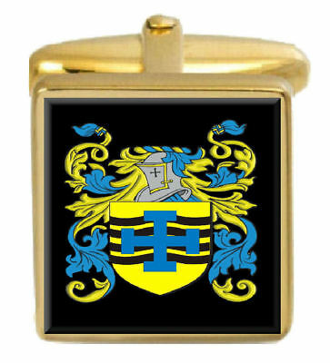 Select Gifts Padley England Family Crest Surname Coat Of Arms Gold Cufflinks Engraved Box