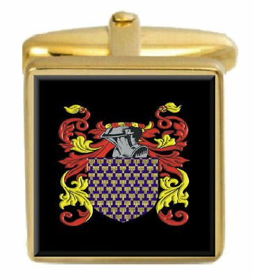 Select Gifts Hopkins England Family Crest Surname Coat Of Arms Gold Cufflinks Engraved Box