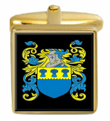 Select Gifts Mcpartlon Scotland Family Crest Surname Coat Of Arms Gold Cufflinks Engraved Box