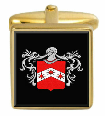 Select Gifts Pitblado Scotland Family Crest Surname Coat Of Arms Gold Cufflinks Engraved Box