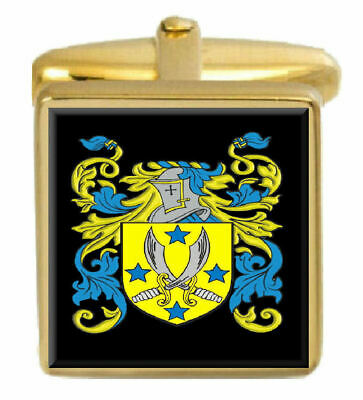 Select Gifts Young England Family Crest Surname Coat Of Arms Gold Cufflinks Engraved Box