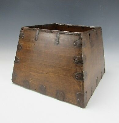 "A Chinese Antique Wooden Rice Measure Dou  metal inlay Container 10 "" High"