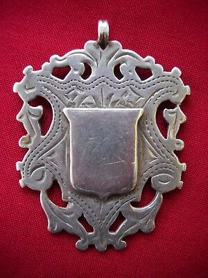 Antique Victorian Solid Silver Double Sided Watch Fob 1900 - Monogram DWE
