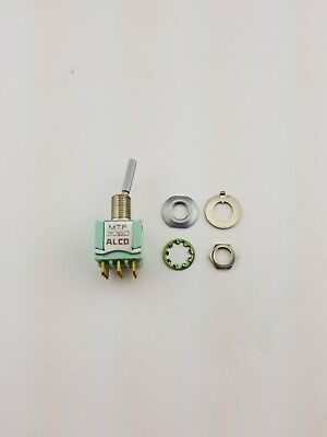 New Alco MTF306D 3PDT ON - ON, Panel Mount Toggle Switch 6A 125V, (NOS)