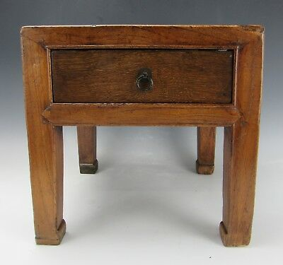 "A Chinese Antique Walnut wood Small Stool Stand Table With one Drawer 14"" H"