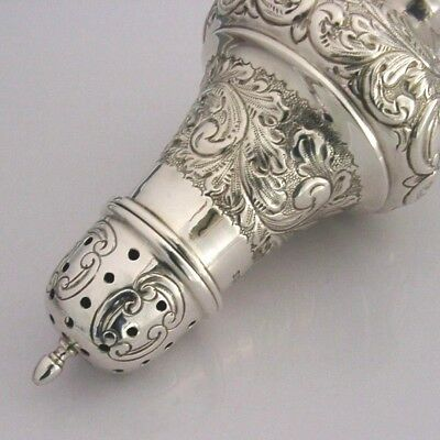 ENGLISH SOLID SILVER EMBOSSED SUGAR CASTER SHAKER 1976 118g MINT