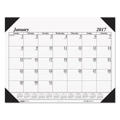 Recycled One-Color Refillable Monthly Desk Pad Calendar, 22 x 17, Jan-Dec 2018