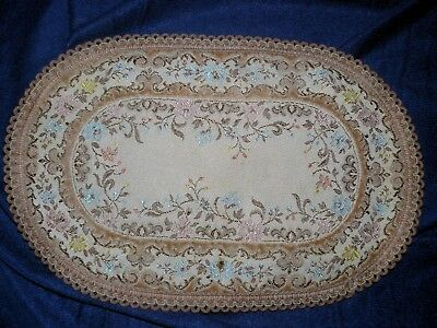 "Belgium Tapestry Rug for dollhouse or doily Oval 9"" X 13"" Chateau"