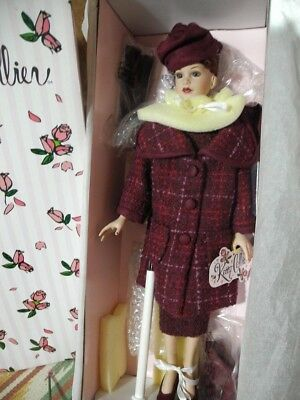 "TONNER Kitty Collier 18"" Doll NRFB 5th Ave Tweed Suit Dress Coat Hat Box + STAND"