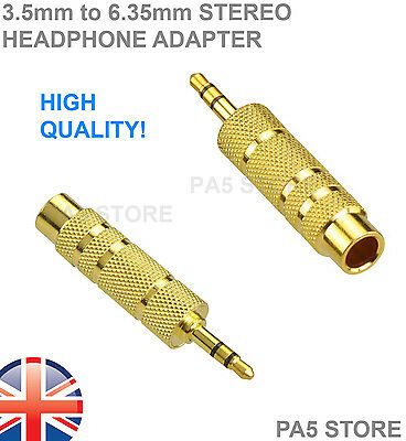 """2x Gold 3.5mm Stereo Male Jack Plugs to 6.35mm 1/4"""" Female Adapter - Headphone 2"""