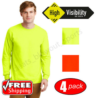 4-Pack Gildan SAFETY Long Sleeve T-Shirt Green Orange Work HIGH VIS ANSI 2400