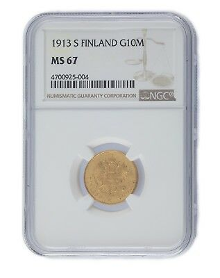 1913-S Finland Gold 10 Markkaa Coin Graded by NGC as MS-67! KM #8.2