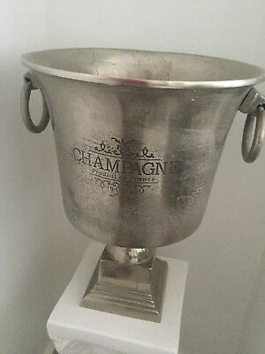 Silver Champagne Wine Ice Bucket w Handles