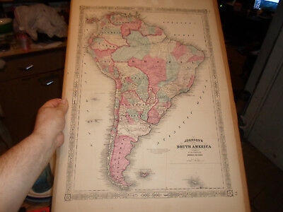 "HUGE 27"" X 18"" SOUTH AMERICA MAP From 1860'S JOHNSON'S ATLAS - HAND-COLORED MAP!"
