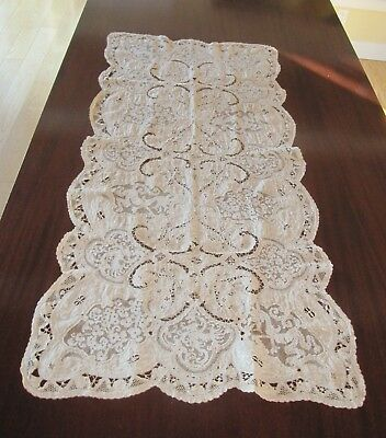Rare Antique 19Th C 18Th C Mixed Lace Runner Filet Bobbin Needle Lace Embroidery