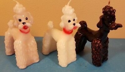 "Lot of 3 - Vintage POODLE Wax CANDLES Spaghetti  Fluffy Dogs - 5"" tall"