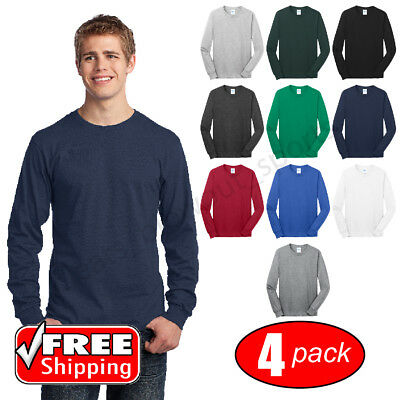 4-PACK Cotton Long Sleeve T-Shirt Mens Blank Casual Plain Comfort Tee PC54LS