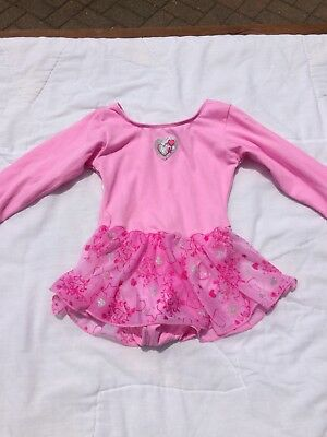 💗 Jacques Moret Girls Hearts Skirted Leotard Leo Dance XSmall XS 4-5 Pink