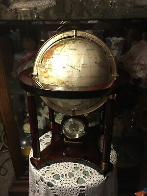 """Mother Of Pearl 9"""" Lapis Mahogany Globe Clock With Stand"""