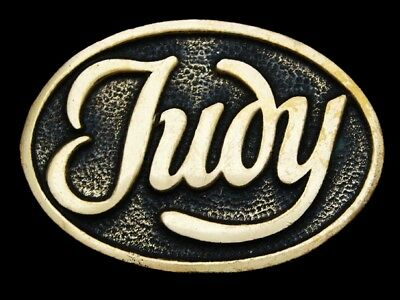 LG05139 VINTAGE 1970s NAME ***JUDY*** OVAL-SHAPED SOLID BRASS BELT BUCKLE