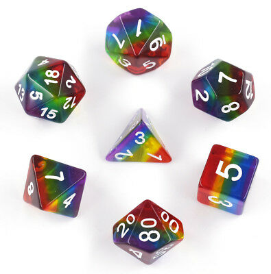 Transparent Rainbow Dice Polyhedral DND Dice Sets for Dungeons and Dragons Game