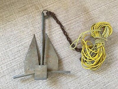 10 pound galvanized boat anchor 16 x 20 inches with rope and chain 10 lbs