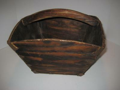 Antique Primitive Chinese Wood Rice / Grain Bucket Basket, Metal Seam & Corner