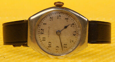 Women's Antique SHIELD Mechanical Hand-Wind Leather Band SWISS MADE <WORK WELL>
