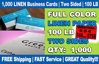 1,000 LINEN BUSINESS CARDS | LUXURY 100 LB | FULL COLOR | 2 SIDES Special Price!