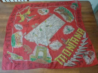 Vintage State Montana Map Scarf Cowgirl Treasure State Indian Glacier Park Silk