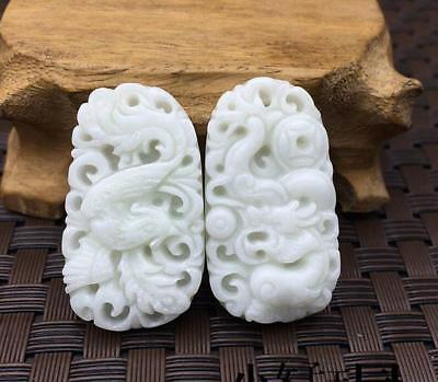 2pc One pair Pure natural jade hand-carved Chinese Dragon and phoenix Pendants
