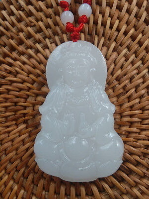 Chinese Hand carved white jade Handheld bottle guanyin Buddhism Pendants A1