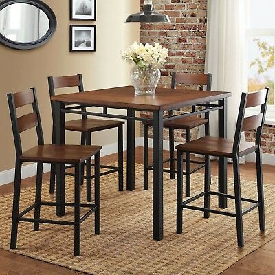 Dining Room Table Set 5 Piece Brown Solid Wood Oak Finish Kitchen Nook Furniture