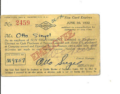 1932 Sunoco Oil Gas Employee Issue Only Discount Gas Oil Card