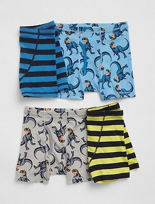 cc3ae79531aa Gap Kids Underwear Boxer Briefs Boys Dino Stripe Pack Of 4 Size M L Xl Xxl  New