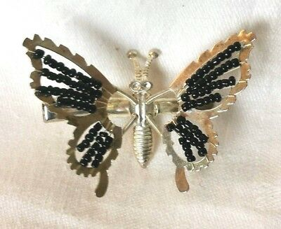 Vintage Butterfly Trembler Hair Clip Silvertone Metal and Black Beads