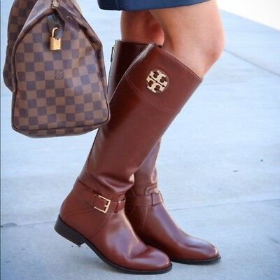 7c5f4b57783e NIB  498 Tory Burch Adeline Almond Brown Leather Riding Tall Logo Boot Size  11