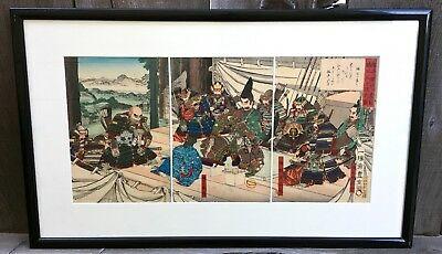 Antique Japanese Meiji Period Woodblock Print Triptych Samurai Depiction Signed