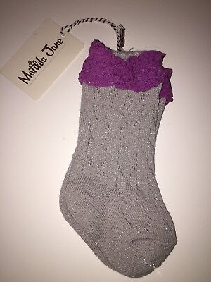 NEW Matilda Jane All the Marbles Socks Silver Shimmery Purple/Plum Lace Size XS