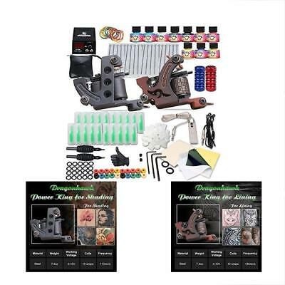 Complete Tattoo Kits 2 Machine Gun 10 Color Inks Power Supply