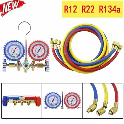 HVAC AC Refrigeration Kit A/C Manifold Gauge Set Air R12 R22 R134a 410a  US-UR